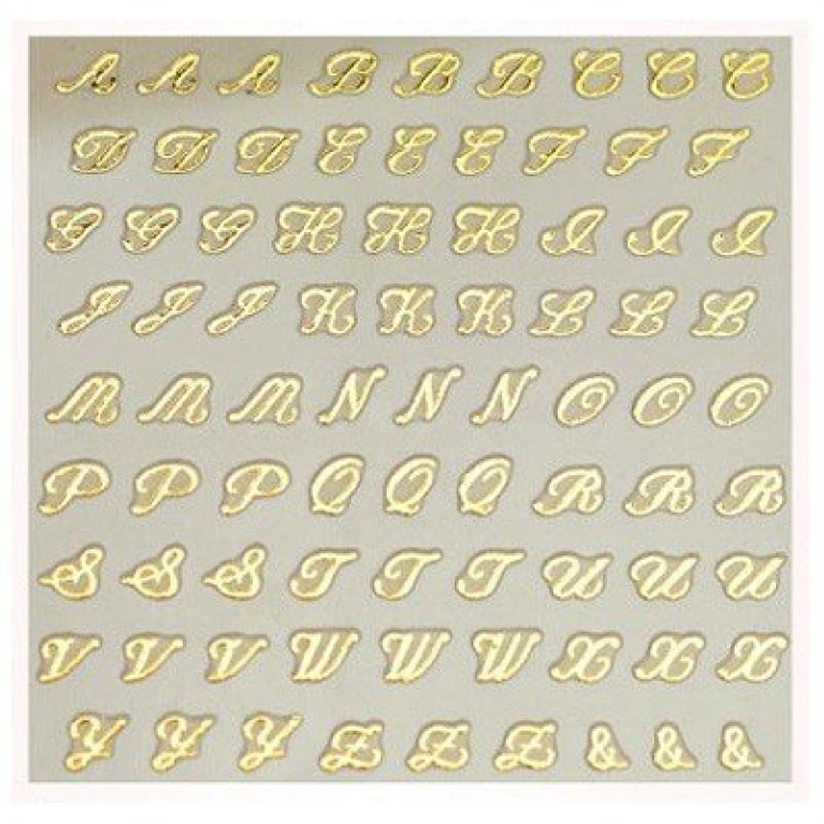 ビスケット宣伝マッサージ文字ネイルシール アルファベット イニシャル ピアドラ pieadra×BLC ネイルシール ブローチイニシャル 小 ゴールド