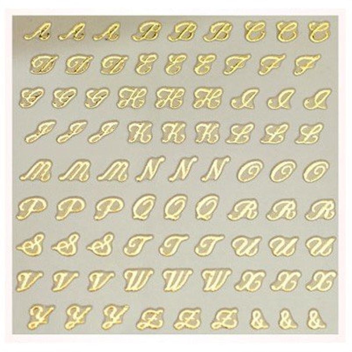 ホイストセッティングヤング文字ネイルシール アルファベット イニシャル ピアドラ pieadra×BLC ネイルシール ブローチイニシャル 小 ゴールド