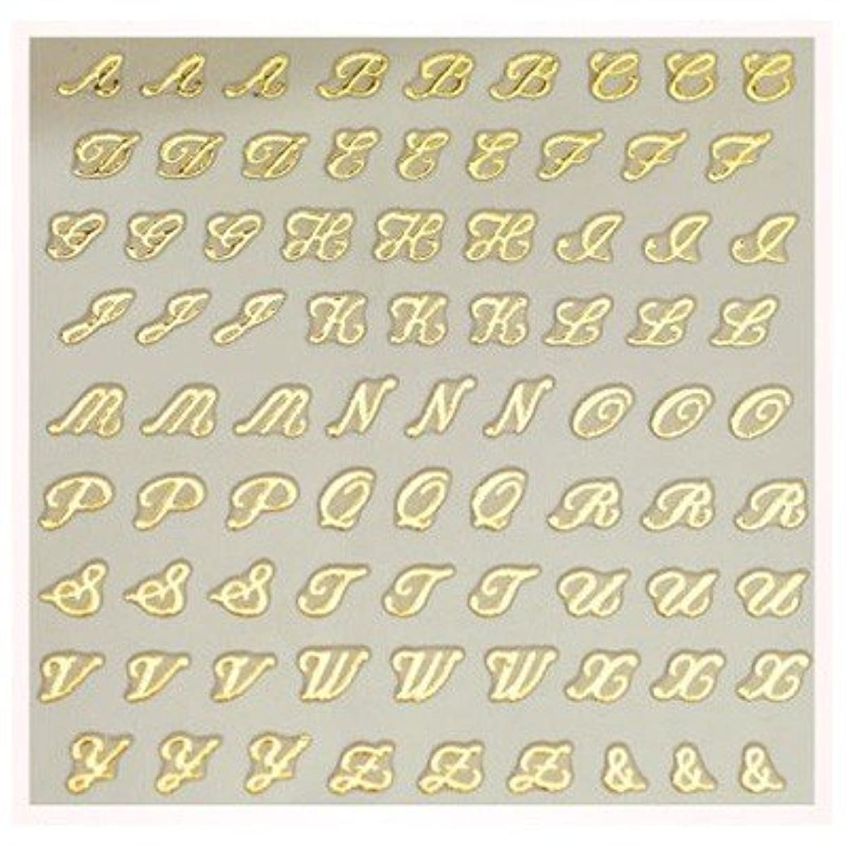 瞑想する西主に文字ネイルシール アルファベット イニシャル ピアドラ pieadra×BLC ネイルシール ブローチイニシャル 小 ゴールド