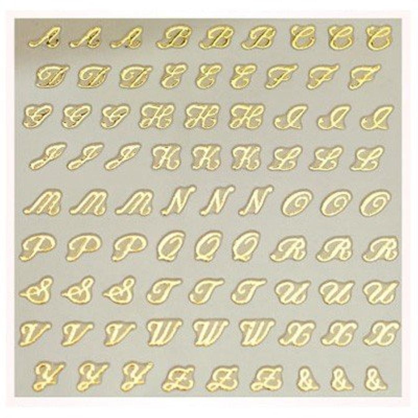 ピアノを弾く行進半球文字ネイルシール アルファベット イニシャル ピアドラ pieadra×BLC ネイルシール ブローチイニシャル 小 ゴールド