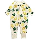 パイナップル 男女兼用 2点セット ベビー服 女の子 赤ちゃん服 幼児 子供服 男の子 長袖 5サイズ キッズ服 ロンパース カバーオール 満月/出産祝い/プレゼント75CM-80CM-85CM-90CM-95CM(0ヶ月-24ヶ月) (95CM/18-24ヶ月, 黄色)