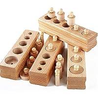 オダマキ 円柱さし 4本セット モンテッソーリ教育 知育玩具 教育玩具 おもちゃ 木製 はめ込み