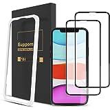 【端浮き防止 気泡ゼロ】2枚セット Euppom iPhone11/Xr ガラスフィルム 全面保護 フィルム iPhon…