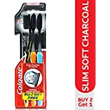 Colgate Slim Soft Charcoal Toothbrush (Pack of 3) 17x Slimmer Soft Tip Bristles (Ship From India)