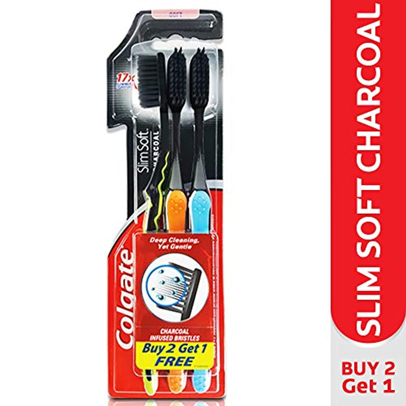 ボタンおんどりかなりColgate Slim Soft Charcoal Toothbrush (Pack of 3) 17x Slimmer Soft Tip Bristles (Ship From India)