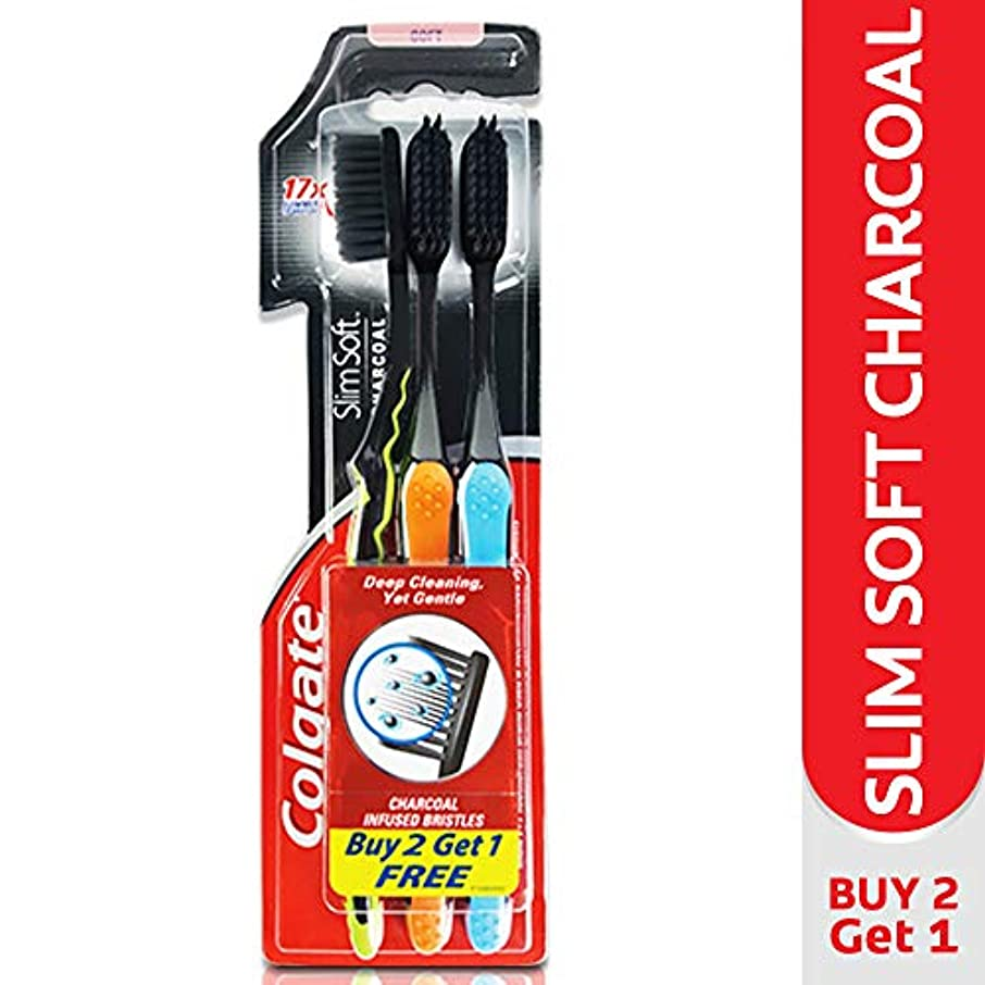 規模ファイアル協力Colgate Slim Soft Charcoal Toothbrush (Pack of 3) 17x Slimmer Soft Tip Bristles (Ship From India)