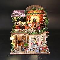Wyd DIY音楽Cottage木製ドールハウスミニチュア人形House LEDライトアセンブリキット3dパズルクラフトトイクリエイティブ子供誕生日ギフト