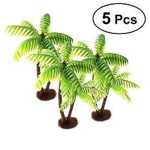 LUOEM 5本 ミニ樹木 ヤシの木 モデルツリー プラスチック製 テーブルデコレーション 鉄道模型 箱庭用