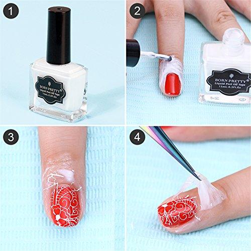 (ボルンプリティー)BORN PRETTY 15ml 1ボトル Peel Off ピールオフリキッドネイル ホワイト 指に塗ってはがすだけ うまく塗れない、指にカラーがついてしまう方にオススメ ピール オフ ネイルアート スタンピング [並行輸入品]