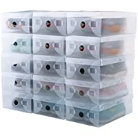 kilofly Smart Storage Foldable Clear Shoe Box [Set of 15]