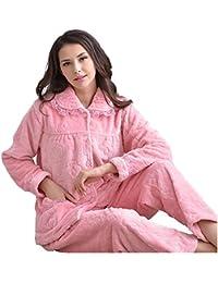 HSTC レディース メンズ 冬 パジャマ もこもこ あったか 厚手フランネル 柔らか ルームウェア (女-001#レース柄)