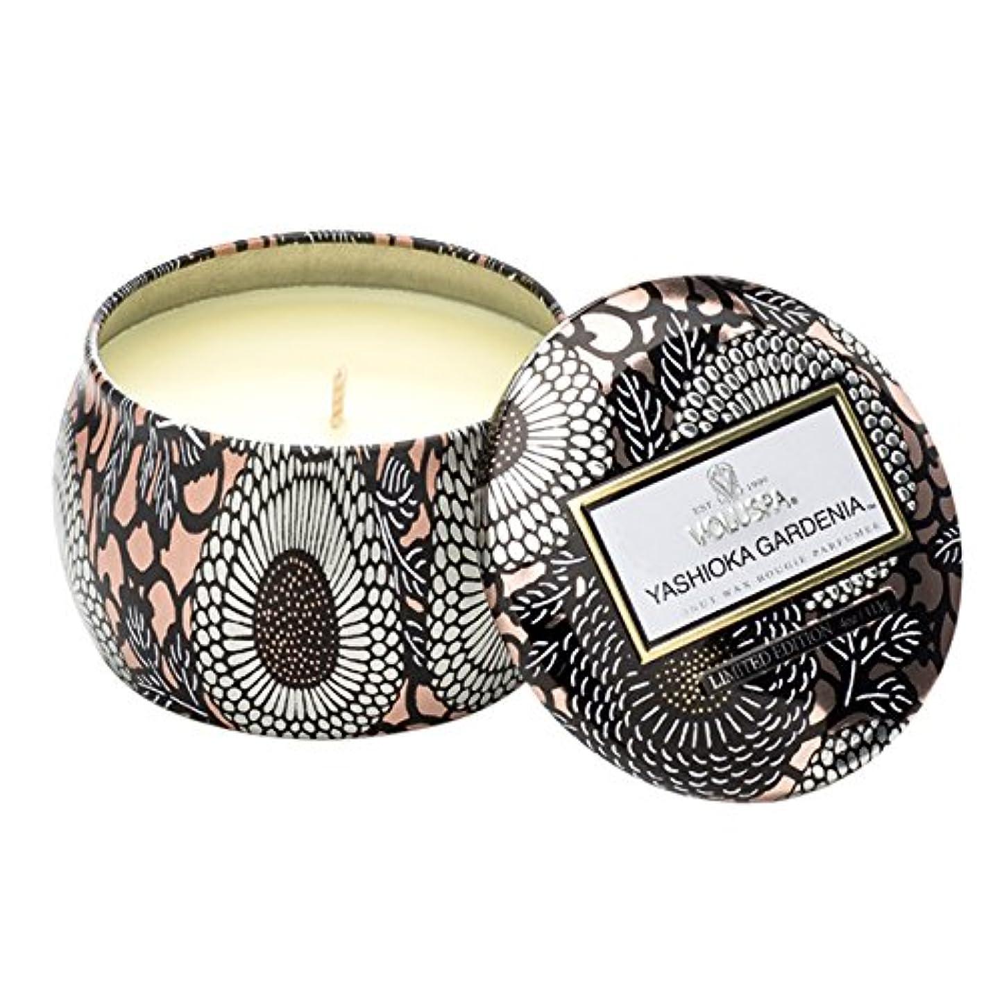 ダンプ細菌信頼できるVoluspa ボルスパ ジャポニカ リミテッド ティンキャンドル  S ヤシオカガーデニア YASHIOKA GARDENIA JAPONICA Limited PETITE Tin Glass Candle