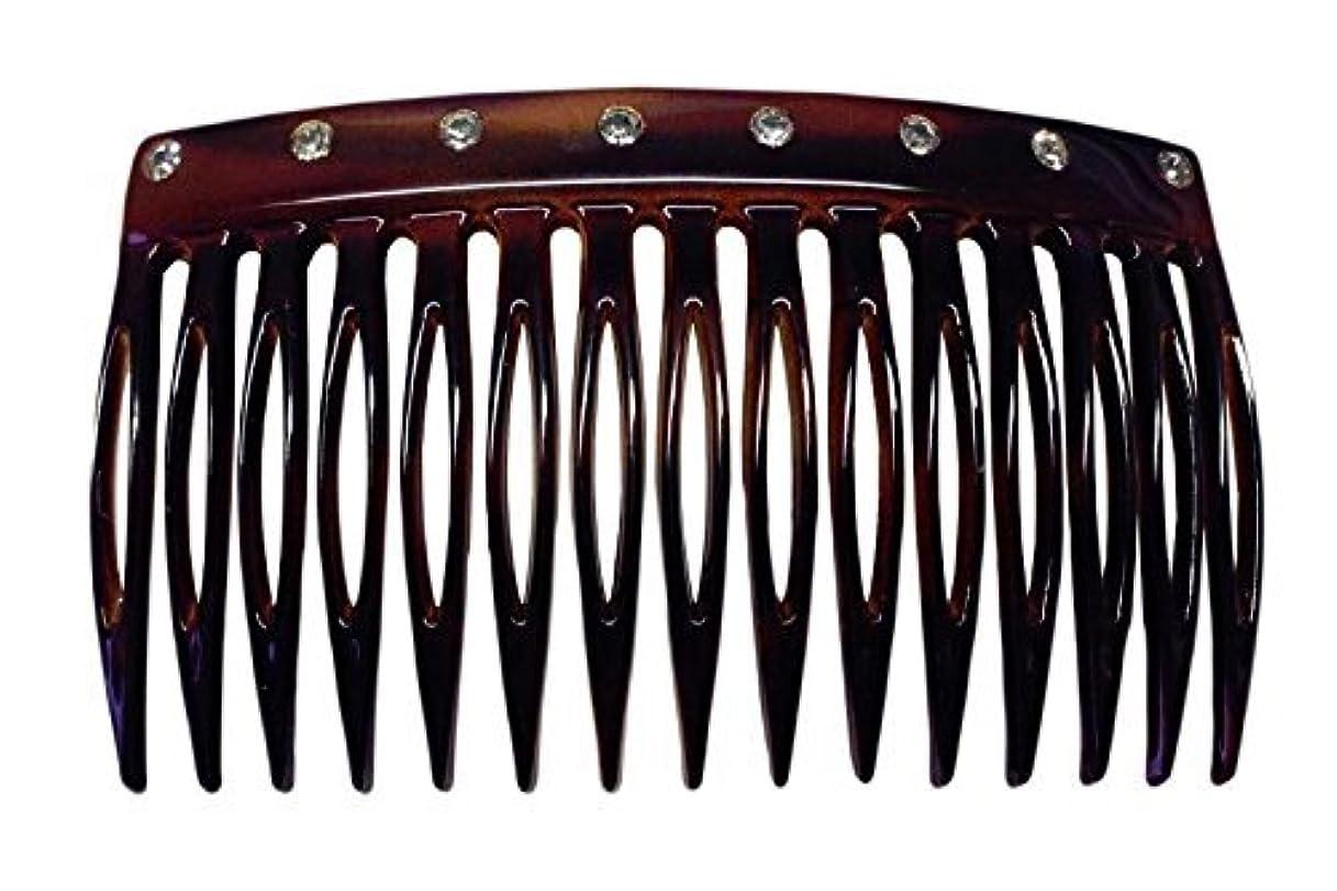 スペイン語噴水否定するParcelona French Crystals Celluloid Shell Hair Updo Side Comb -2 3/4 Inch [並行輸入品]