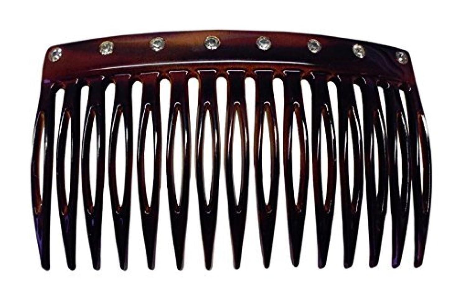 死すべき動くのためにParcelona French Crystals Celluloid Shell Hair Updo Side Comb -2 3/4 Inch [並行輸入品]