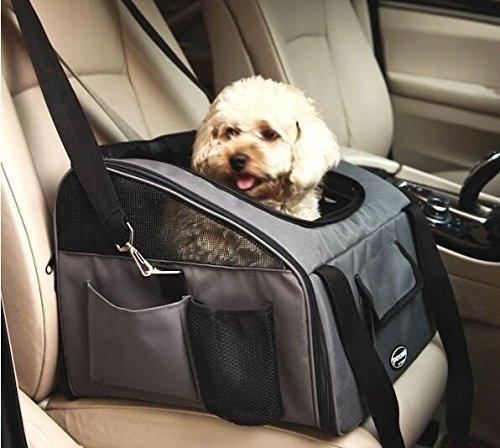 Pettom ドライブボックス 犬 ドライブシート ペット キャリー お出かけ カー用品 折りたたみ メッシュ加工 (グレー)