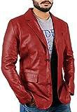 メンズ ダウンジャケット レイブラペルメンズブラック本革ラムスキンレザージャケット–1510830 カラー: レッド