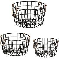 Shabby Chic French Countryラウンドワイヤネストバスケットブラックwith銅ハンドル – ストレージ、組織、キッチン、ホーム、装飾 – 3のセット