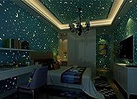 壁のステッカーの平面3Dの星の月の子供の部屋光る生地の壁紙装飾的な男の子の女の子の寝室の漫画の蛍光灯の壁画、PVC家の装飾の壁のデカール(10m * 0.53m) (色 : A)