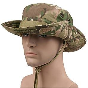 Bakle 米軍ブーニーハット サファリハット ジャングルハット つば広 迷彩 帽子 通気穴付き 日除け 釣り 登山 アウトドア用 (マルチカム)