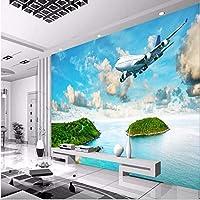 Wuyyii 大型カスタムフレスコ画海辺の島熱帯雨林飛行機リビングルームのベッドルームテレビの壁の写真の壁紙-350X250Cm