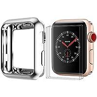 BRG コンパチブル apple watch ケース/apple watch カバー,apple watch フィルム x3枚と組み合わせ 耐衝撃性 HD画面保護 メッキTPU製 アップルウォッチ ケース/アップルウォッチ カバーとアップルウォッチ フィルム series 3/2/1 全モデル対応(42mm,シルバー)