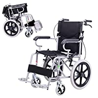 ポータブル車椅子車椅子車椅子チェア車椅子トランスポート軽量アルミ合金車椅子 (色 : 黒)