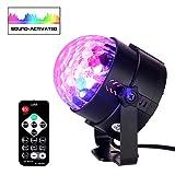 SH ステージライト ミニ スポットライト ミラーボール 舞台照明 カラフル水晶魔球 LED ステージ/ ディスコ/パーティー/KTV/カラオケ/クラブ/バー照明用ライトリモコン付き RGB 声控モード/フラッシュモード/速度コントロール/多色モード ブラック殻 CE/ROHS認証済む