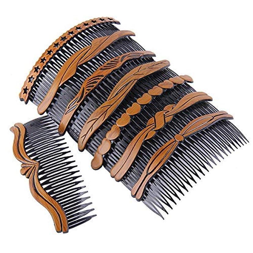 塩辛い貸し手落とし穴8Pcs Plastic Wood Grain Hollow Hair Side Combs Retro Hair Comb Pin Clips Headdress with Teeth for Lady Women Girls...
