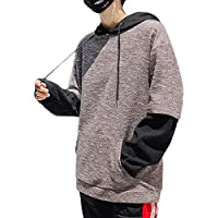 [meryueru(メリュエル)] バイカラー ビッグシルエット フード付き パーカー ダボ系 カンガルー ポケット メンズ