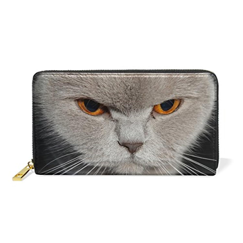 マキク(MAKIKU) 長財布 レディース 本革 おしゃれ 大容量 ラウンドファスナー カード12枚収納 プレゼント対応 かわいい 猫 猫柄