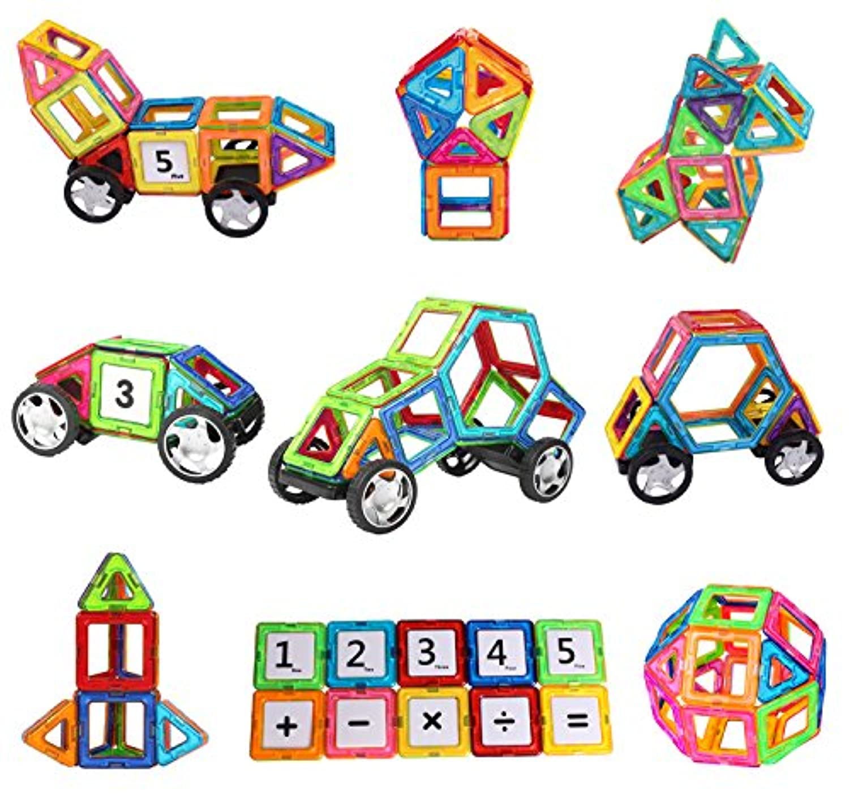 磁気磁気タイル建物ブロック教育玩具マグネットStacking Toyセットfor Boys and girls-70個