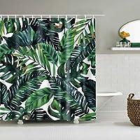 浴室のシャワーカーテン シャワーカーテンシャワーカーテン熱帯植物葉柄防水速乾性環境保護材料金属フック吊り穴 (Color : Tz170801, サイズ : 180*180cm)