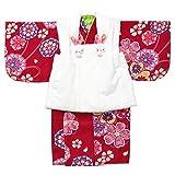 女の子ベビー着物 ボア被布セット ポリエステル 赤/菊に桜 1才(80cm-90cm) 中国製