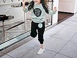 ( AngelKids ) 女児 トレーナー 上下 セット アップ 子供 プルオーバー スウェット サルエル (グリーン★110㎝)