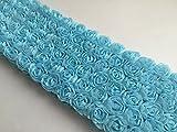 デコレーション 立体 チュール レース ハンドメイド アクセサリー ドレス シフォン 薔薇 モチーフ 携帯 ミニバラ 裁縫 180cm 6列 (ライトブルー)
