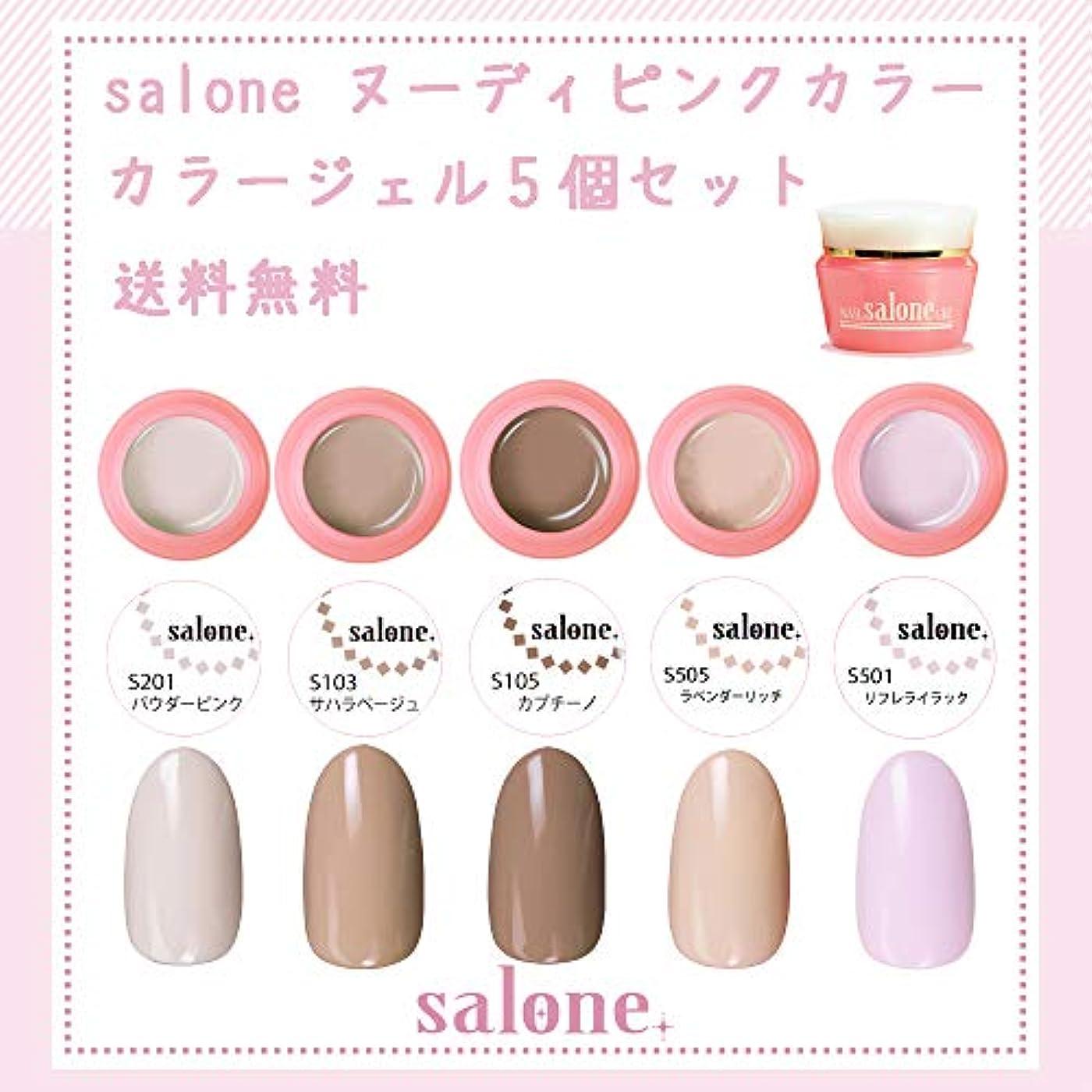 勃起誰の外観【送料無料 日本製】Salone ヌーディピンク カラージェル5個セット サロンで人気のピンクベースの肌馴染みの良い上品なヌーディカラー