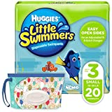 Huggies Little Swimmers Disposable Swim Diaper, Swimpants, Size 3 Small (16-26 lb.), 20 Ct, with Huggies Wipes Clutch 'N' Clean Bonus Pack (Packaging May Vary)