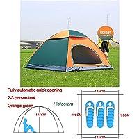 自動ポップアップアウトドアファミリーキャンプのテント1つの2 3 4人複数モデルイージーオープンキャンプテントウルトラライトインスタントシェード ZASUBC (Color : Green Orange 2 3 man)