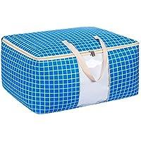 綿のリネン収納袋ブルーストライプ模様のパターンポータブル防湿トラベルオーガナイザー羽毛布団の掛け布団仕上げ荷物収納袋 (サイズ さいず : 58 * 46 * 28cm)