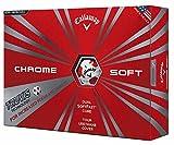 Callaway(キャロウェイ) ゴルフボール Chrome Soft Chrome Soft (クローム ソフト) ゴルフボール 2016年モデル 4ピース構造 (1ダース) USモデル 並行輸入品   ホワイト/レッドトゥルービス 新設計のTour Urethaneカバーがソフトなフィーリングを与えてくれます。 4ピース構造