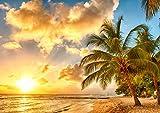 絵画風 壁紙ポスター (はがせるシール式) 夕焼けのビーチ 夕陽とヤシの木 カリブ海 楽園 キャラクロ BCH-027A1 (A1版 830mm×585mm) 建築用壁紙+耐候性塗料