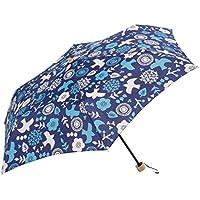 晴雨兼用折傘 【 PU サニー&バード ミニ 】 ネイビー BE-09854