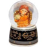 20034 【Minium Collection】 Snowdome ミュージカルスノーグローブ。オレンジ。ハープと天使。【直径】10cm
