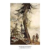 もみの木(童話) and theブランブル、Aesops Fables for Childrenポスター、Fineアートプリントby Arthur Rackham ( 1912)から、本を