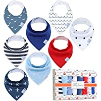 Little Bean Baby Bandana Drool Bibs 8 Pack - Extra Soft, 100% Cotton and Fleece - Super Absorbent Baby Bandana Bibs - Perfect Teething Bibs - Bandana Bibs for Boys, Girls (Voyager)…
