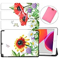 """MAITTAO Case for iPad 10.2 Inch 2019, Microfiber Lining Hard Back Shell with Auto Wake/Sleep, Slim Lightweight Trifold Smart Stand Cover for iPad 7th Generation 10.2"""" 2019,Flowers & Leafs 10"""