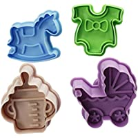 Luyou 4pcsクッキー赤ちゃんのおもちゃ3Dベビーベビーカートロイの木瓶のクッキー金型ビスケットスタンプギフトトースト金型フォンダンの装飾ツール