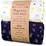Luvberries Baby Bjorn Travel Crib Sheets (Set of 2) - 100% Organic Cotton Crib Sheets, Baby and Toddler, Fitted Crib Sheets, for Boys & Girls (Day and Night)