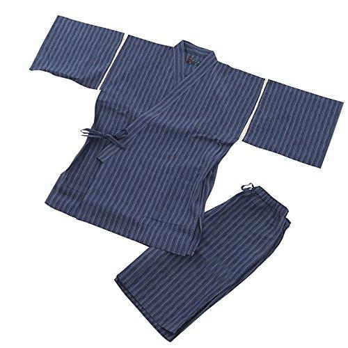 着心地の良い涼しいしじら織り甚平 (L, 青)