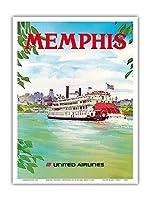 メンフィス、テネシー州 - ユナイテッド航空 - パドルホイールボート - ビンテージな航空会社のポスター によって作成された ヘーゲル c.1970s - アートポスター - 23cm x 31cm